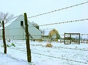 Winter Scenes Posters - Amish Farm in Winter Poster by Julie Dant