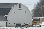 Amish Photos - Amish Horse and Buggy and 1919 Barn No3 by David Arment