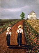 Amish Painting Framed Prints - Amish Road Framed Print by Linda Simon