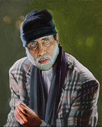 Dominique Amendola Prints - Amitabh Bachchan Portrait Print by Dominique Amendola