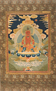 Featured Tapestries - Textiles Metal Prints - Amitayus - the Bodhisattva of Limitless Life Metal Print by Tilen Hrovatic