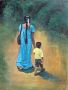 Guides Painting Framed Prints - Ammas Grip Leads. Framed Print by Usha Shantharam