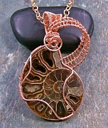 Featured Jewelry - Ammonite Fossil and Copper Spiral Lattice Pendant FAPC6 by Heather Jordan