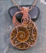 Featured Jewelry - Ammonite Fossil and Copper Spiral Lattice Pendant FAPC7 by Heather Jordan