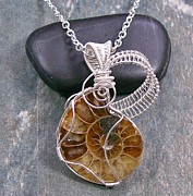 Featured Jewelry - Ammonite Fossil and Silver Spiral Lattice Pendant by Heather Jordan