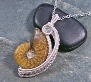 Featured Jewelry - Ammonite Fossil Swarovski Crystal and Silver Woven Crescent Pendant by Heather Jordan