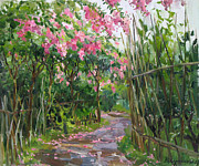 Path Painting Originals - Among flowers and oranges by Victoria Kharchenko