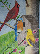 Finch Drawings Metal Prints - Among Friends Metal Print by Cecilia Stevens
