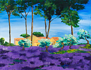 Picturesque Painting Prints - Among the Lavender Print by Elise Palmigiani