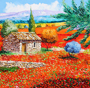 Villa Prints - Among the Poppies Print by Jean-Marc Janiaczyk