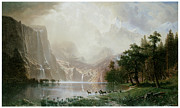 Waterfalls Painting Metal Prints - Among the Sierra Nevada Mountains California Metal Print by Albert Bierstadt