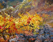 Autumn Vineyards Paintings - Among vineyards by Volodymyr Klemazov