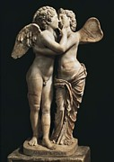 Greek Sculpture Prints - Amor And Psyche. 1st C. Hellenistic Print by Everett