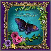 Turquoise Mixed Media - Amore - Butterfly Version by Bedros Awak