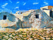 Surreal Landscape Painting Metal Prints - Amorgos village Metal Print by George Rossidis