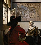 Smiling Painting Posters - Amorous Couple Poster by Jan Vermeer