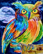 Colorful Owl Paintings - Ampersand Owl by Beverley Harper Tinsley