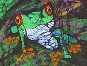 Amphibian Tapestries - Textiles Posters - Amphibia Set of II Poster by Kay Shaffer