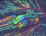 Amphibian Tapestries - Textiles Posters - Amphipia I Poster by Kay Shaffer