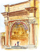 Travel Sketch Prints - Amphitheater in Golden Gate Park San Francisco  Print by Irina Sztukowski