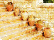 Amphorae Posters - Amphorae on steps Poster by Sandy MacGowan