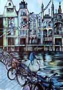 City Scene Drawings Metal Prints - Amsterdam Metal Print by Anna  Duyunova