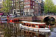 Boat Cruise Photo Prints - Amsterdam Canal and Houses Print by Artur Bogacki