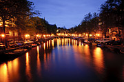 Holland Photos - Amsterdam canal at night by Oscar Gutierrez