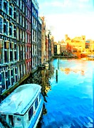 Homes Mixed Media Prints - Amsterdam Canal Print by Bob Newland