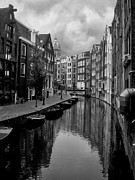 Monochrome Framed Prints - Amsterdam Canal Framed Print by Heather Applegate
