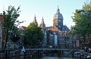 Amsterdam Canal View - 02 Print by Gregory Dyer