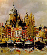 Nederland Paintings - Amsterdam Canals III by Mathias