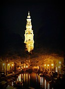 John Malone Art Work Digital Art Metal Prints - Amsterdam Church and Canal Metal Print by John Malone
