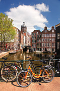 Sightseeing Digital Art Originals - Amsterdam city with bikes by Tomas Marek