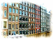 Homes Mixed Media Prints - Amsterdam Homes on Canal Print by Bob Newland