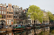 Linked Prints - Amsterdam Houses along the Singel Canal Print by Artur Bogacki