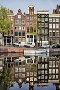 Linked Metal Prints - Amsterdam Houses by the Singel Canal Metal Print by Artur Bogacki