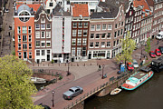 City Canal Prints - Amsterdam Houses from Above Print by Artur Bogacki