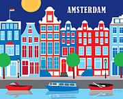 Cityscape Digital Art Metal Prints - Amsterdam Metal Print by Karen Young