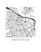 Amsterdam Digital Art - Amsterdam Map by Olivier Gratton-Gagne