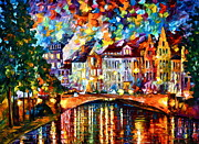Water Reflections Paintings - Amsterdam New by Leonid Afremov
