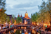 Sights Art - Amsterdam Red Light District in the Evening by Artur Bogacki