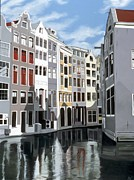 Netherlands Paintings - Amsterdam Reflection by Sharon Von Ibsch