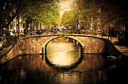 Architectural Structure Framed Prints - Amsterdam Romantic bridge over canal Framed Print by Michal Bednarek