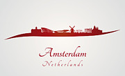 Amsterdam Digital Art - Amsterdam skyline in red by Pablo Romero