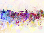 Amsterdam Digital Art - Amsterdam skyline in watercolor background by Pablo Romero