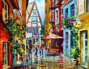 Old Street Metal Prints - Amsterdam Street Metal Print by Leonid Afremov