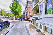 Old Town Digital Art Framed Prints - Amsterdam Streets 2 Framed Print by Yury Malkov