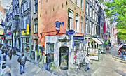 Old Town Digital Art Framed Prints - Amsterdam Streets 3 Framed Print by Yury Malkov