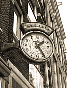 Amsterdam Vintage Deco Clock Sign In Sepia Print by Gregory Dyer